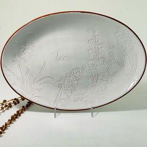 Pier1 Terracotta White Oval Platter 4172897 NEW!